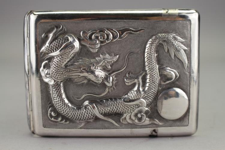Chinese Silver Compact Dragon Case