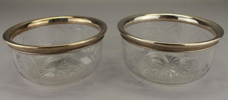 Pair, Sterling Silver/Glass Bowls