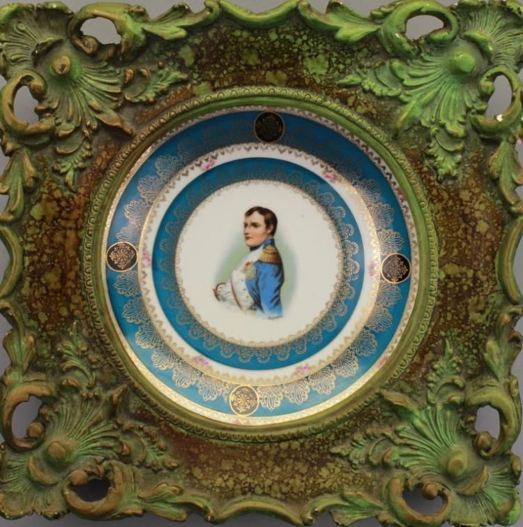 Bronze Framed Porcelain Plaque of Napoleon