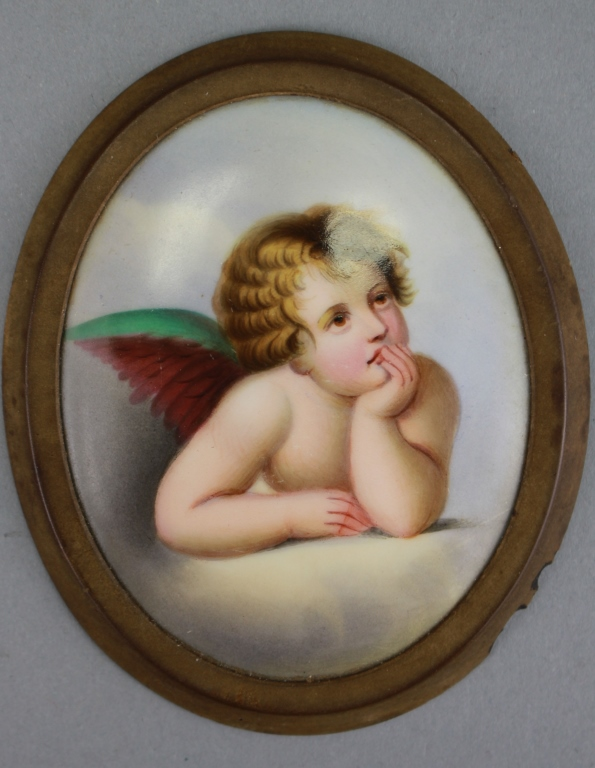 Antique French Porcelain Painted Plaque of Cherub