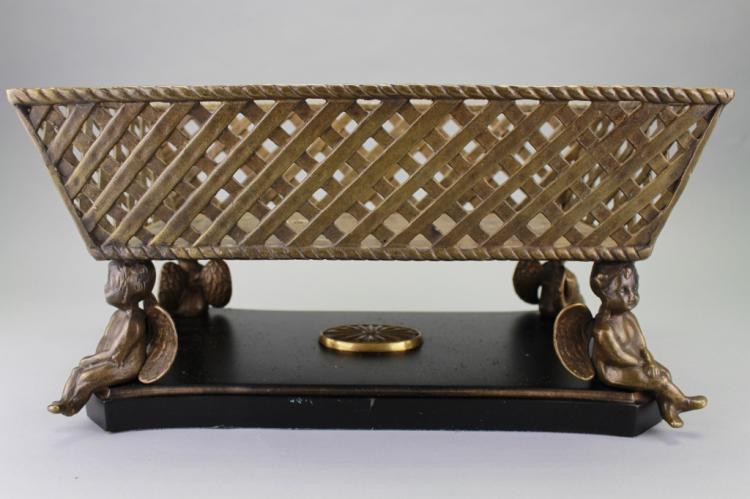 Antique Figural French Cherubic Bronze Basket