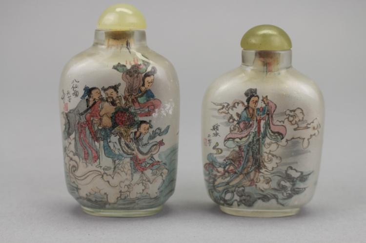 Pair, Signed Chinese Reverse Painted Snuff Bottles