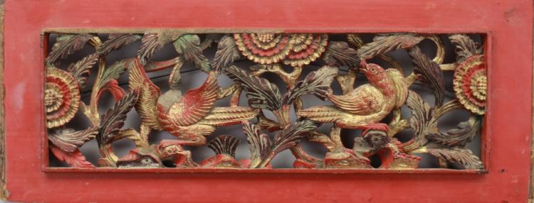 Antique Chinese Carved Gilt Architectural Panel