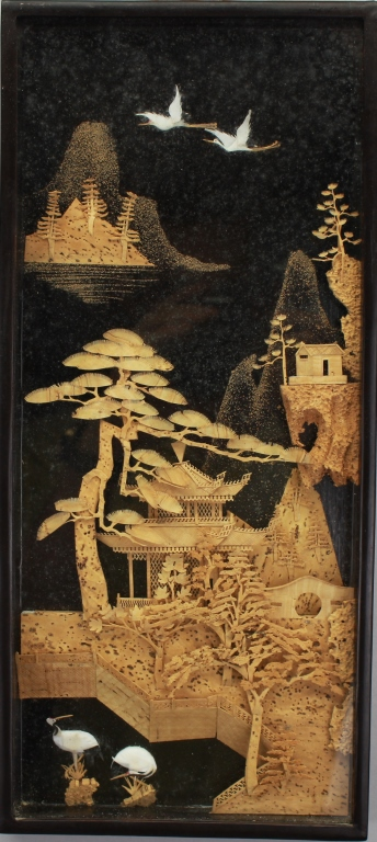 20th C. Chinese Framed Carved Plaque