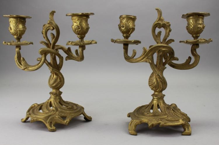 Pair of Antique French Bronze 2 arm Candelabras