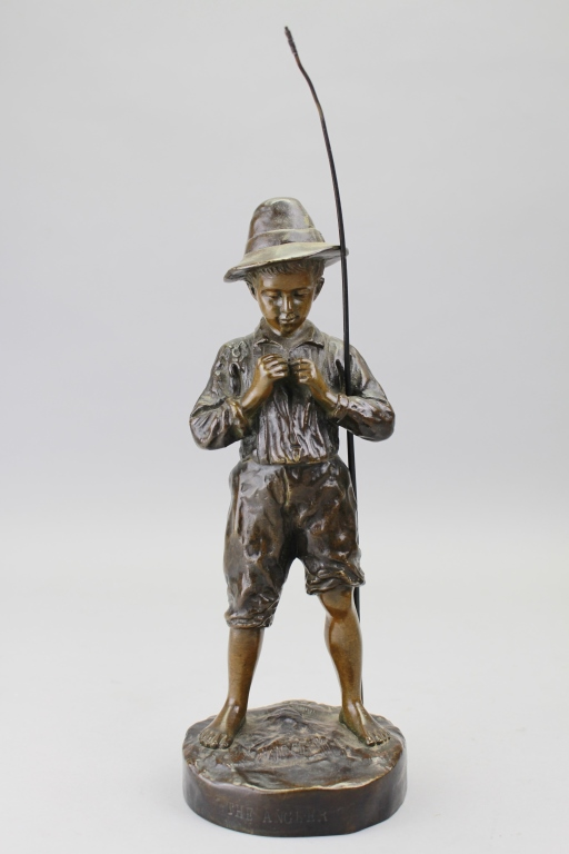 Antique Signed Bronze Boy w/ Fishing Pole