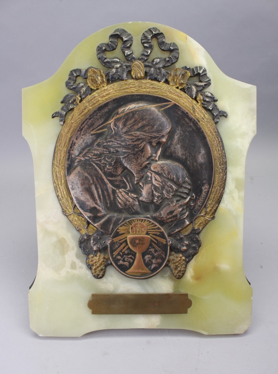 Antique Bronze/Onyx Religious Plaque