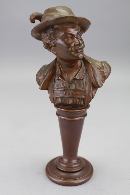 Antique Bronze Bust of a Musketeer