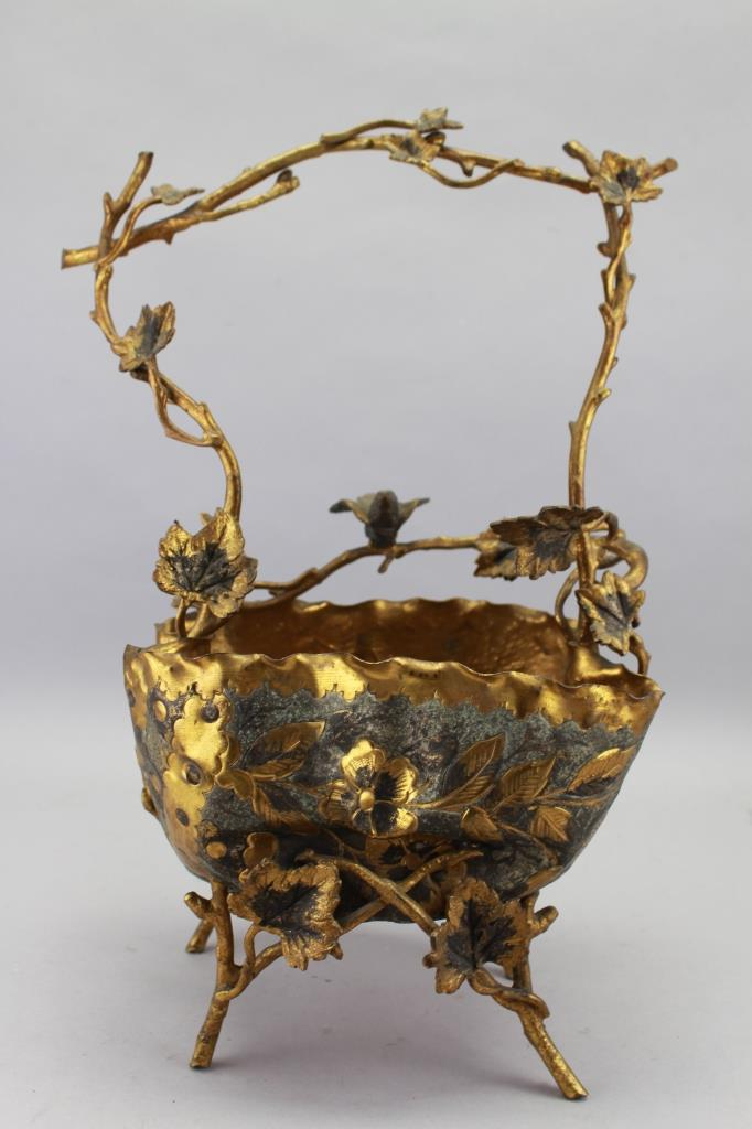 19th C. French Gilt Bird Basket