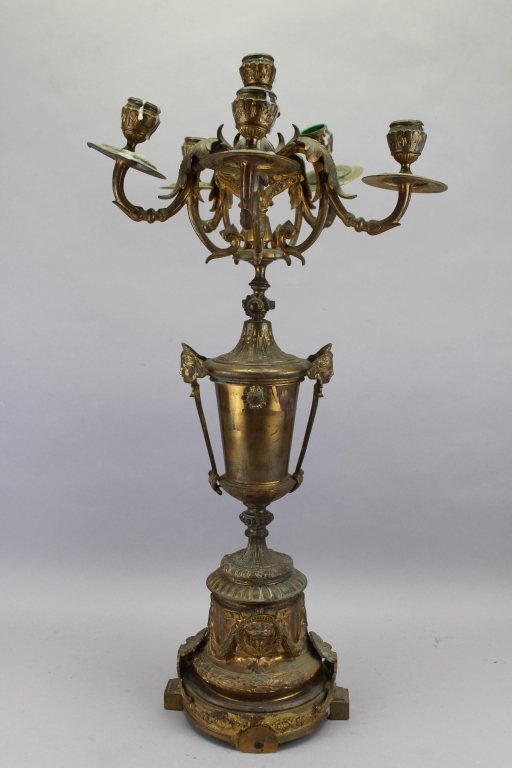 Antique French Bronze 6-arm Candelabra