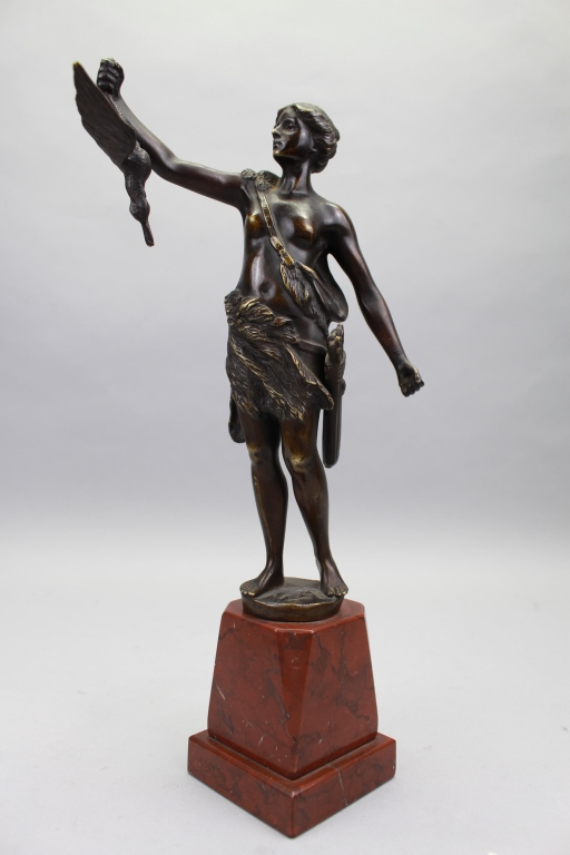 Signed Antique Bronze Figure of Diana the Huntress