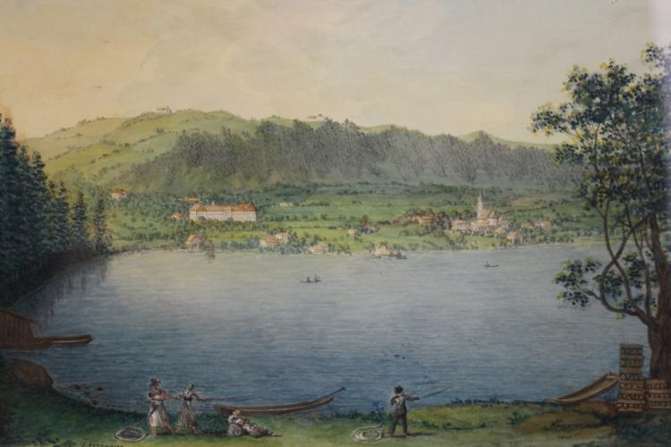 Antique Signed German School Mountain Lake Scene