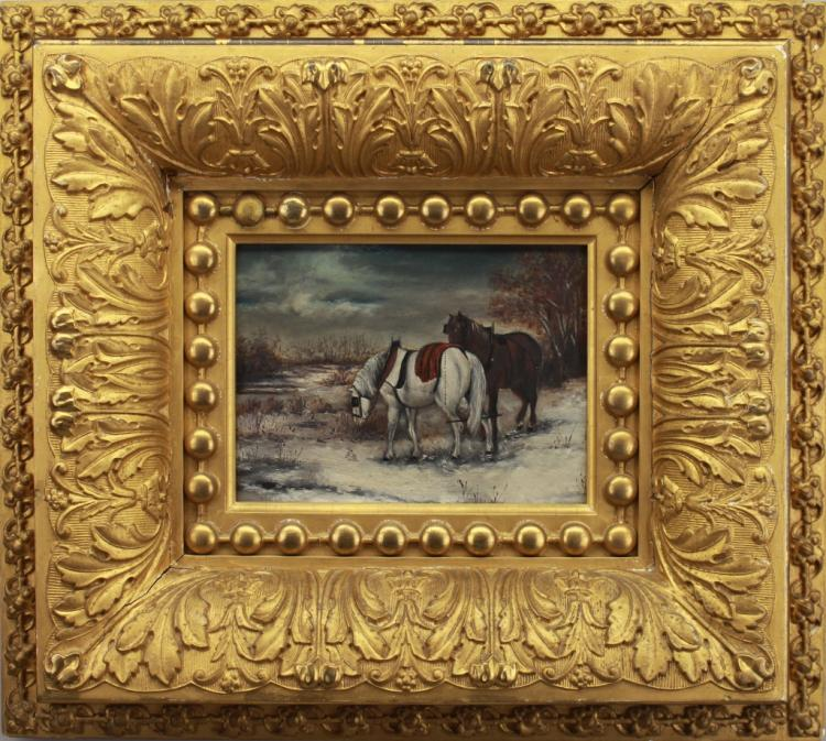 American School 19th C. Winter Landscape w/ Horses