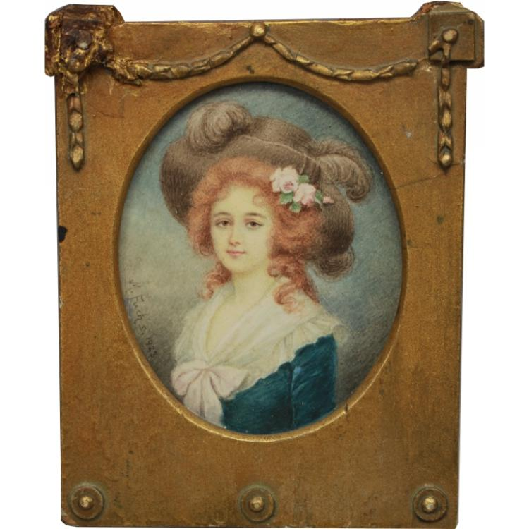 Signed 1923 Oval Portrait of a Woman