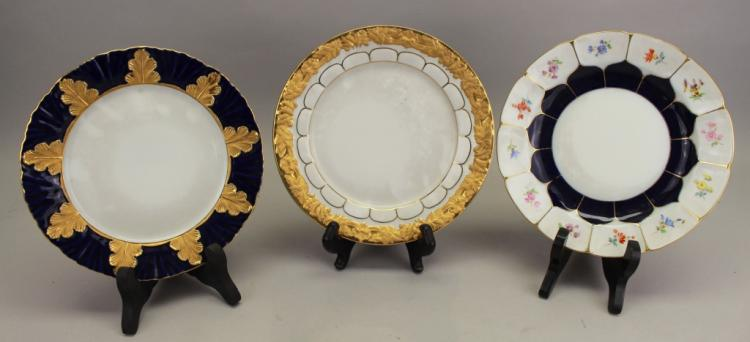 (3) Antique Meissen Porcelain Dishes