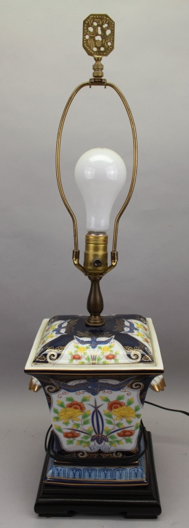 Polychromed Decorated 20th C. Lamp