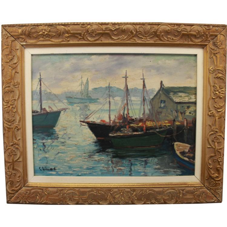 Cesare Ricciardi (1892 - 1973) Harbor Scene