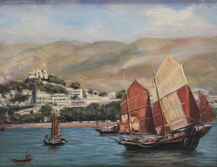 Signed 20th C. Hong Kong Harbor Scene
