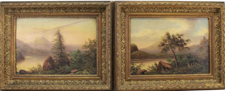 Pair of Hudson River Scenes, Oil/Board