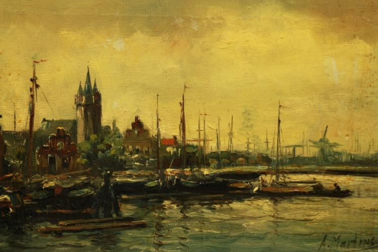 Anton Martens (Dutch, 19/20th C)  Amsterdam Scene