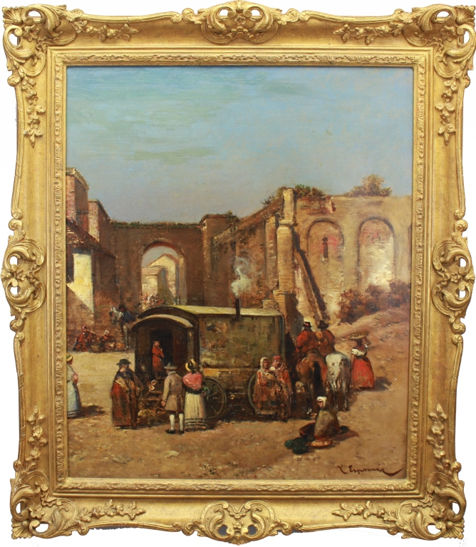 Antique Signed European School Market Scene