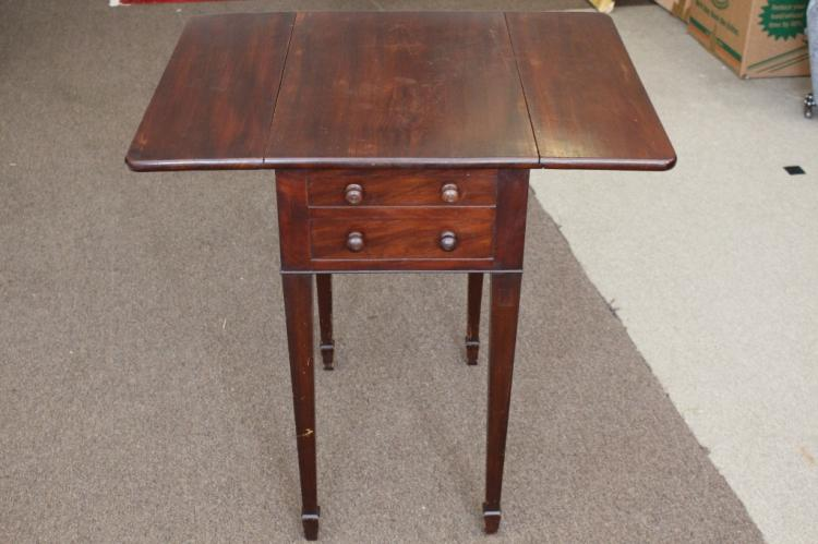 19th C. Period 2 Drawer Drop Leaf Stand