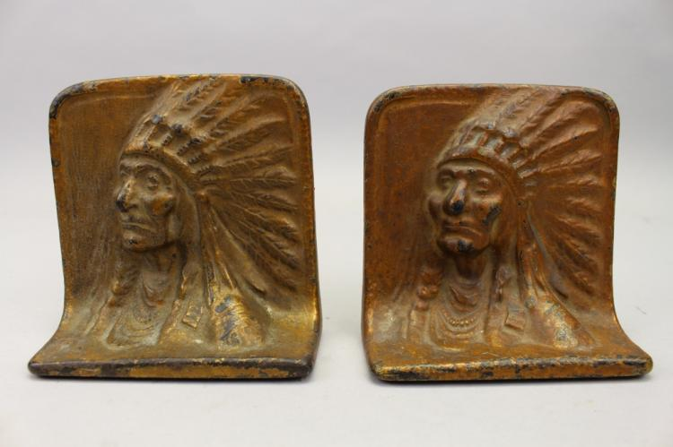 Antique Native American Bronze Bookends