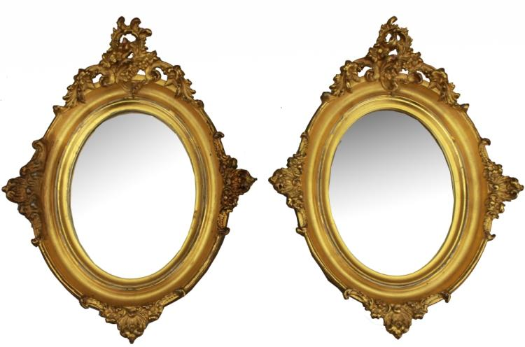 Pair, Antique French Gilt Oval Mirrors