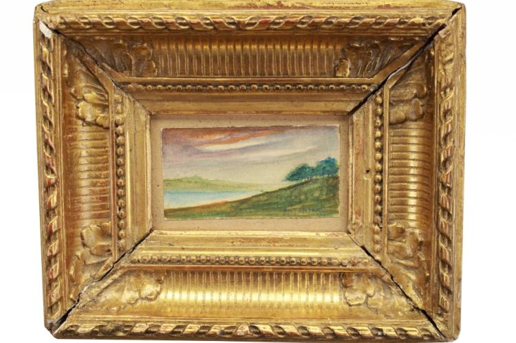 Signed Antique Landscape, Fluted Cove Frame