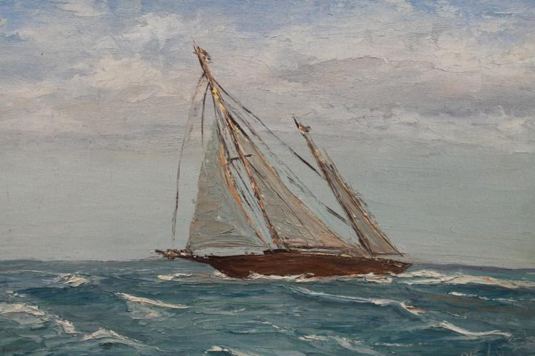 Pelosi, Signed 20th C. Painting of Sail Boat