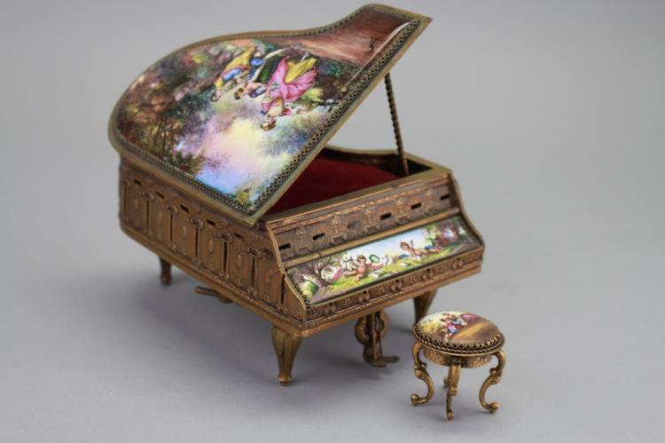 Sgnd 19th C miniature porcelain piano jewelry case