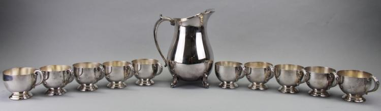 Silverplate Pitcher w/ (10) Cups