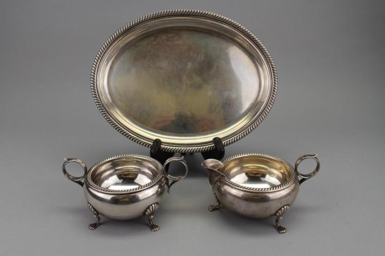 Fisher Sterling Creamer, Sugar & Small Tray