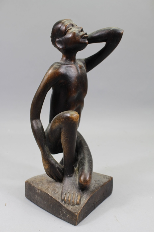 Signed Carved Kneeling African Figure