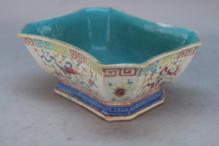 19th C. Chinese Famille Rose Octagonal Bowl