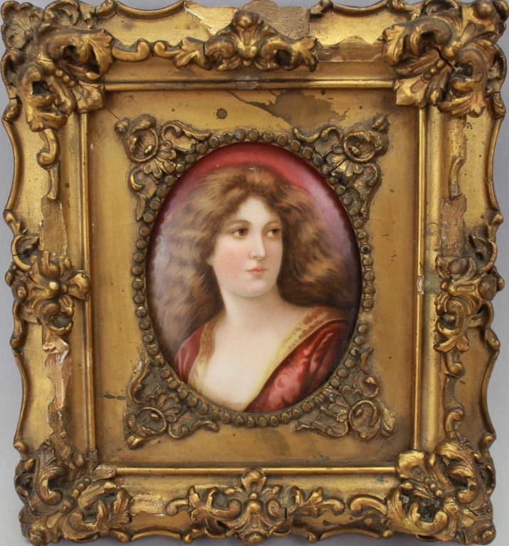19th Century Framed Oval Plaque of a Woman