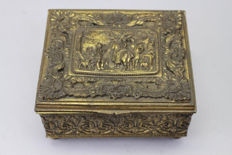 Antique Gilt Metal Figural Box