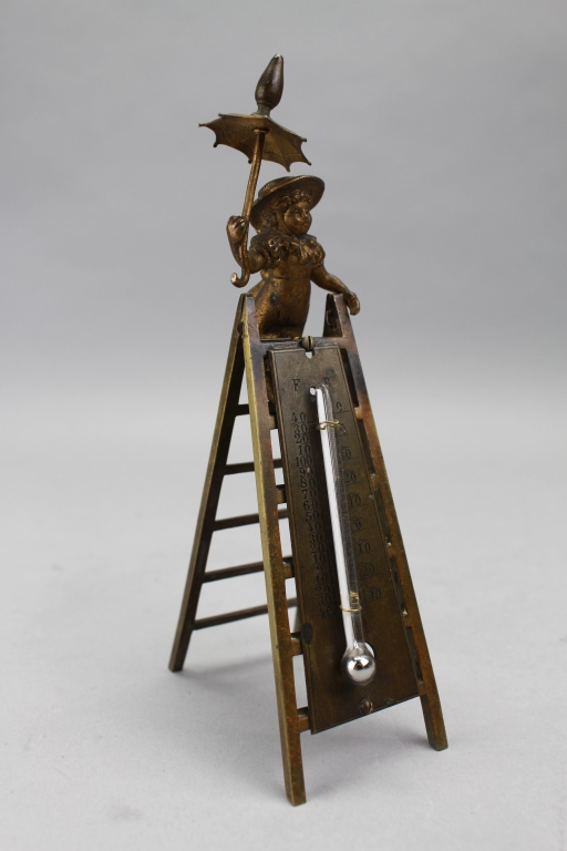 Antique Figural Bronze Thermometer