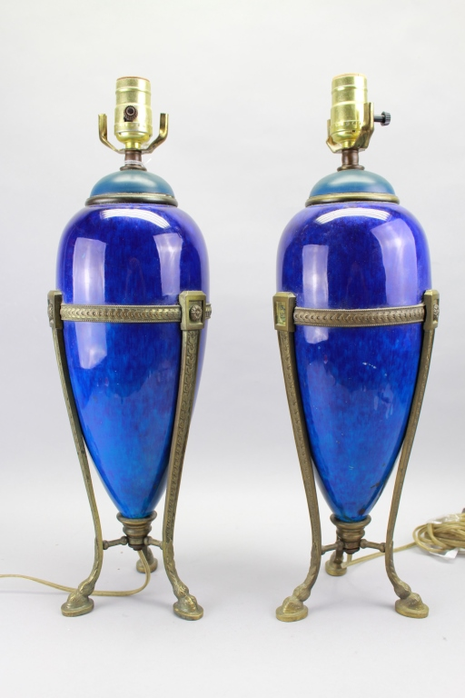 Antique Sevres Footed Porcelain/Bronze Lamps