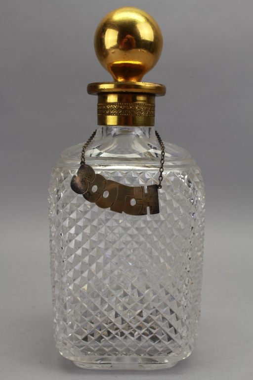Glass/Gilt Metal Scotch Decanter