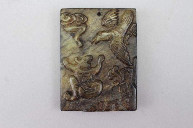 Antique Chinese Carved Jadeite Pendant