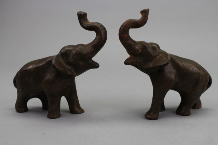 Pair, Antique Bronze Elephants