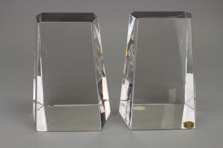 Set of Val St. Lambert Cristal Bookends
