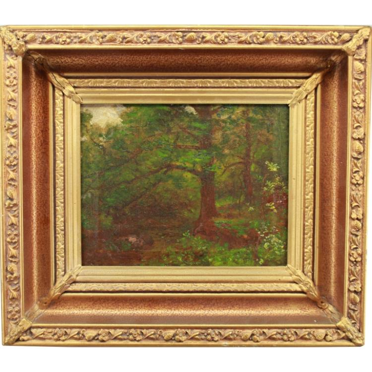 20th C. Oil/Board of a Wooded Landscape