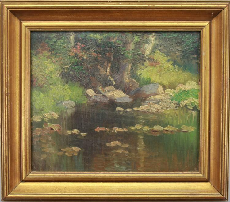 American School, 20th C. River Landscape