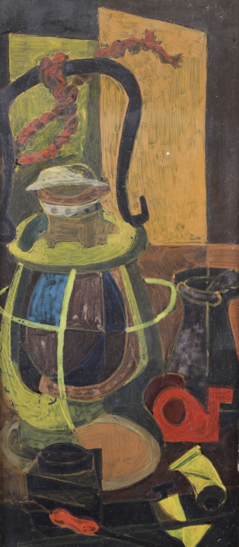 20th C. Oil/Board Cubist Painting of a lantern