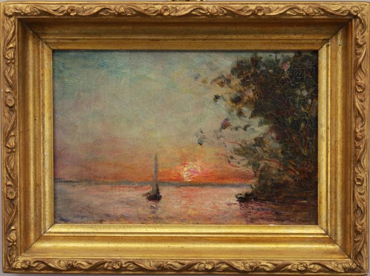 Signed American School Luminous Coastal Scene