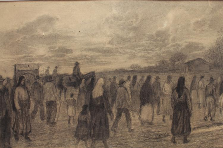 20th C. Charcoal Drawing, Religious Procession