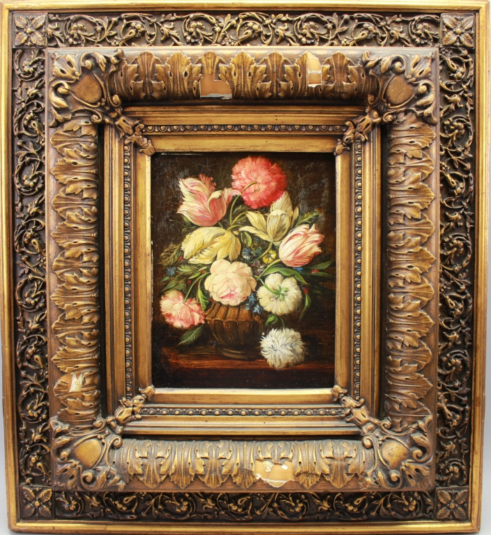 Still Life Painting in Antique Gilt Frame