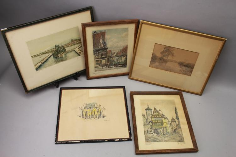 5 Signed Antique German Etchings